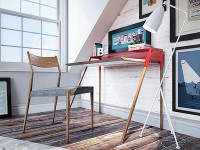 Home Office vray furniture rendering render modeling archviz 3ds max