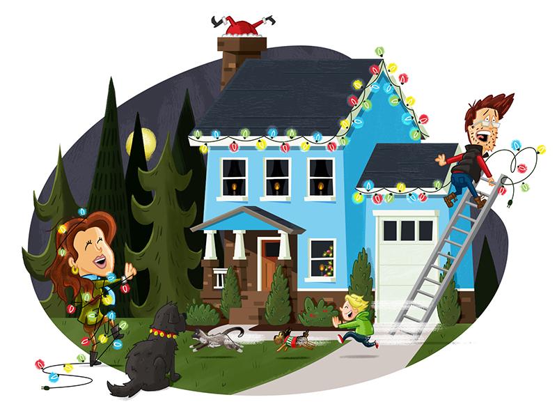 2016 Christmas Card why ornaments presents house tree illustration holidays christmas