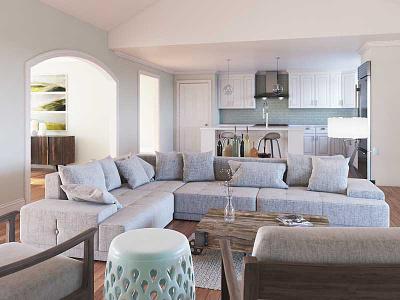 Living Room Render scfi fake hotdog den kitchen couch architecture vray 3d rendering