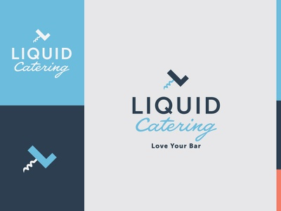 Final LC Mark catering blue bartending service corkscrew logo bar liquid