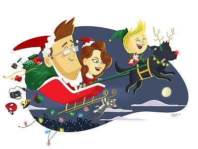 A Very Cobbly Christmas santa family dog deer bag sleigh xmas card holidays christmas illustration