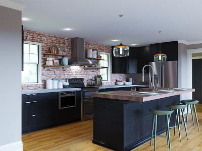 Kitchen Rendering 00684 model 3d stools rendering kitchen