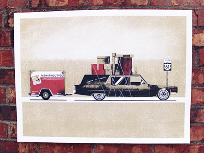 mewithoutYou Print poster printing halftone color hearse uhaul cargo