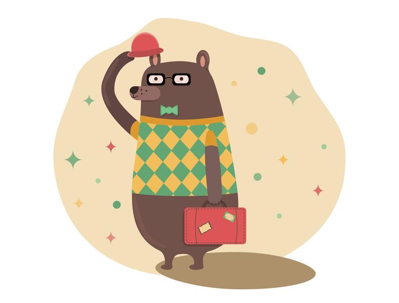 Traveler bear travel adventure suitcase graphicdesign funny bear illustration artist art vector design