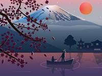 Fuji landscape sun gradient japanese sakura sunset peaceful landscape japan fuji flat adventure illustration artist art vector design