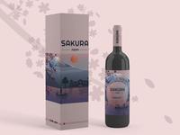 Sakura wine mockup wine branding wine bottle modern japan brand design brand concept concept art concept wine mockup logo branding illustration artist art vector design