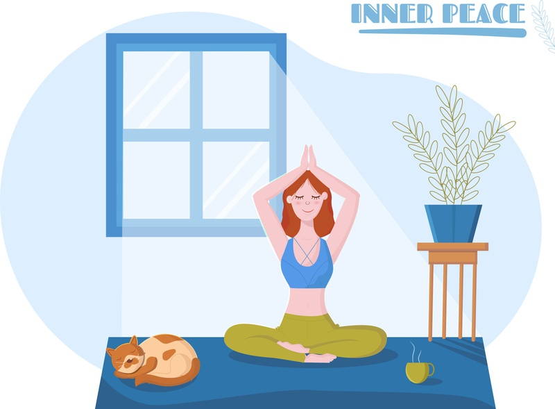 Yoga time yoga mat yoga pose home stayhome flatdesign flat flower cat girl inner peace asana peaceful morning relax yoga illustration artist art vector design