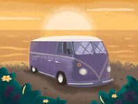 Sea sunset with noises retro nostalgic van sunset sea adventure flat illustration artist art vector design