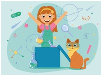 Science girl childrens illustration child cute cat science girl adventure flat illustration artist art vector design