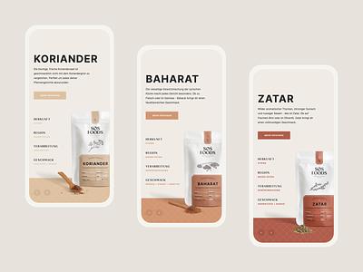 SOS Foods ・ shop consciously minimal light website web design web flat design app ecommerce webdesign ui packaging mobile carousel clean spices food