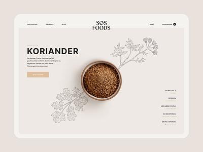 SOS Foods ・ in focus minimal light website web design web flat app design webdesign ecommerce ui illustration animation header clean spices food