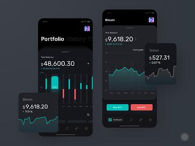Cryptocurrency app blockchain coin mobile app plat4m crypto wallet wallets ios bitcoin dark app dark ui ui cryptocurrency