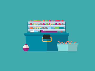 Fishing adobe illustrator design prompts fishing tackle box worms cork flat