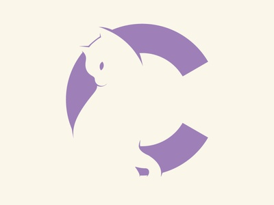 C Cat typography minimal branding design logo