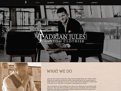 Landing page for an elite men's tailor shop