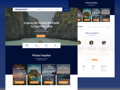 TRAVELSKUY - Landing Page explore landing pages uidesign ui landing page ui travelskuy web design landing page web travel design