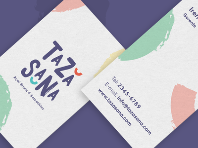 Taza Sana Cards stationery business cards health brush bowl logo branding smoothies food acai