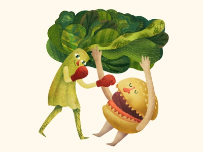BROCCOLI WINS kids kidsillustration hair hamburger broccoli healthyfood health character illustration