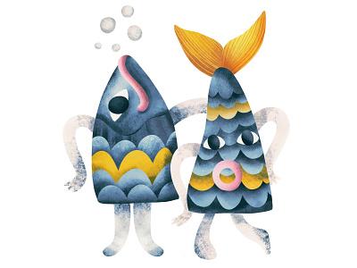 Dependent relationships psychology relationships lovers fish kidsillustration kids illustration character