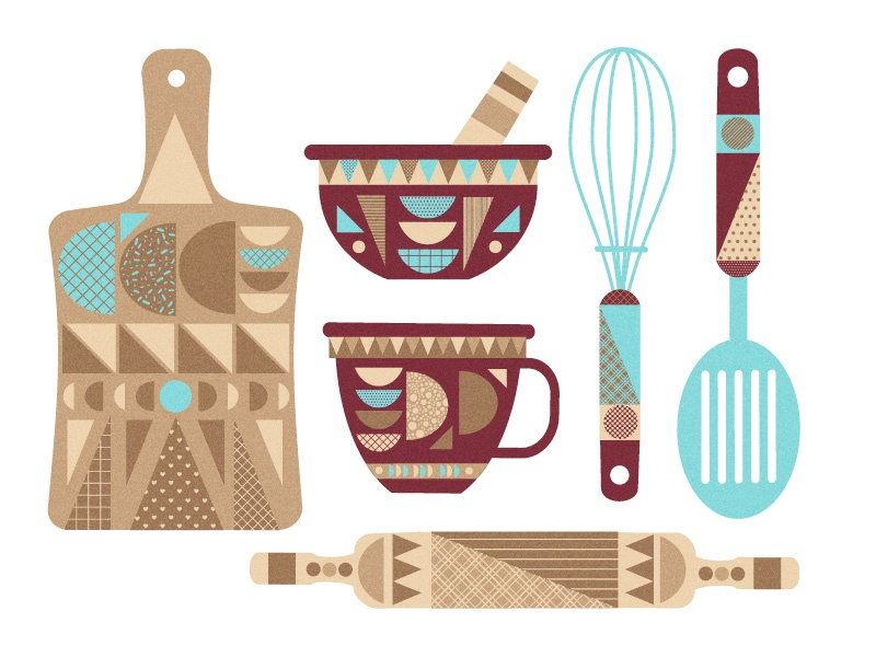 Kitchen objects colours objects cooking geometry kitchen vector illustrator adobe
