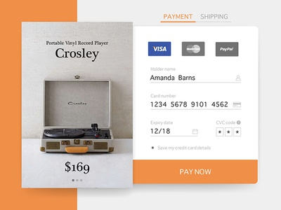 Daily UI #002 : Credit Card Checkout