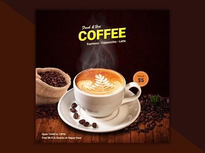 Hot & Fresh Coffee Instagram Poster branding social media facebook instagram stories instagram banner instagram post instagram socialmedia social media design design