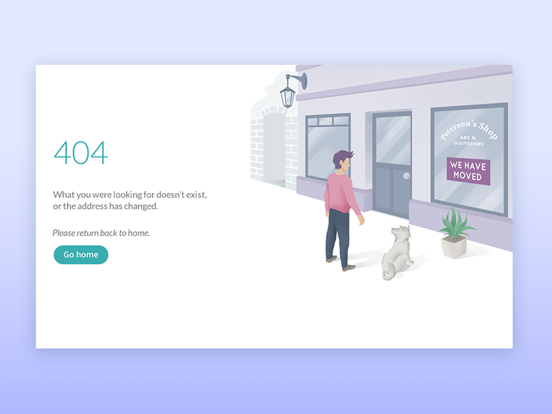 404 Page concept design page 404 person dog shop illustration