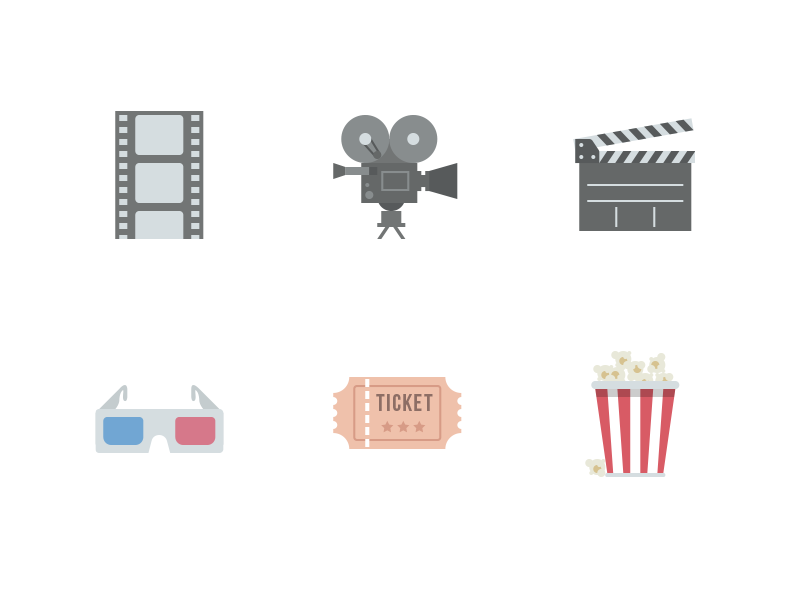 Cinema Icons (Free Download) by Corneliu Copacean on Dribbble