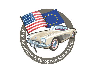 AEM Logo classic corvette flag car retro logo