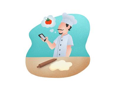 Create phone create chef illustration