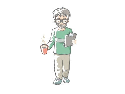 Person with clipboard clipboard glasses drink cup person illustration