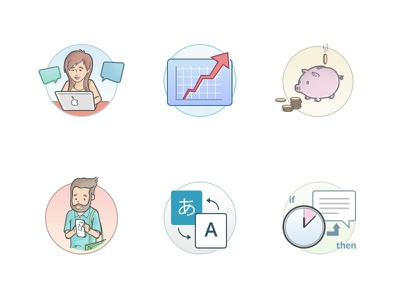 Icons for chat features design piggy bank person triggers translate mobile sales analytics connect chat icons