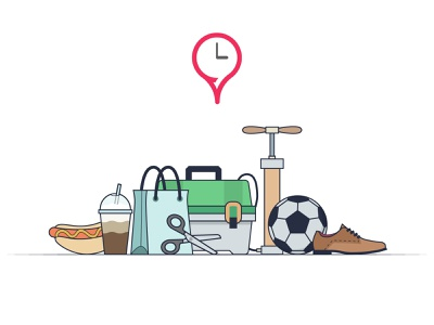 FindOpen illustration tackle box bag scissors shoe football social media findopen illustration