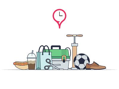 FindOpen illustration tackle box bag scissors shoe football social media findopen illustration