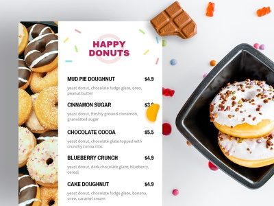 Donuts Menu Design candy sweets food doughnuts bannersnack menu design menu donuts design