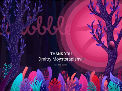 Dribbble invite grass plants forest dribbble invite graphic design web dribble shot vector illustration
