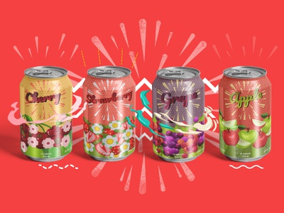 Sparkling water dribble drink cherry packaging grape apple water graphicdesign soda