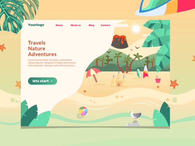 Travel landing page page concept design concept art tropics webpage beachball beach flatdesign vector web uidesign ui webdesign travel landingpage design2020 illustration concept