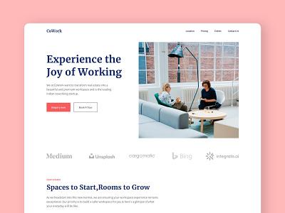 Coworking - Website Design graphic design branding web website ui illustration icon flat typography minimal design app
