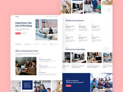 Coworking - Website Design ux poster design graphic design vector web logo website illustration branding ui icon flat typography minimal design app