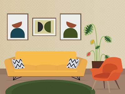 Interior Illustration design illustration flat minimal