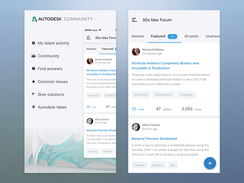 Mobile client for Autodesk forums by Dmitriy Markov on Dribbble