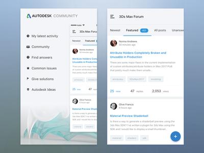 Mobile client for Autodesk forums 3ds max material community answers 3d forums forum client mobile ui autodesk