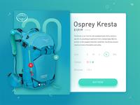 Osprey backpack e-commerce screen