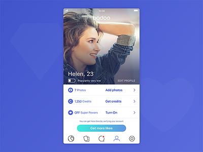 Badoo Profile app service photo girl love dating date mobile ui social badoo