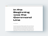 In the Beginning was the Command Line