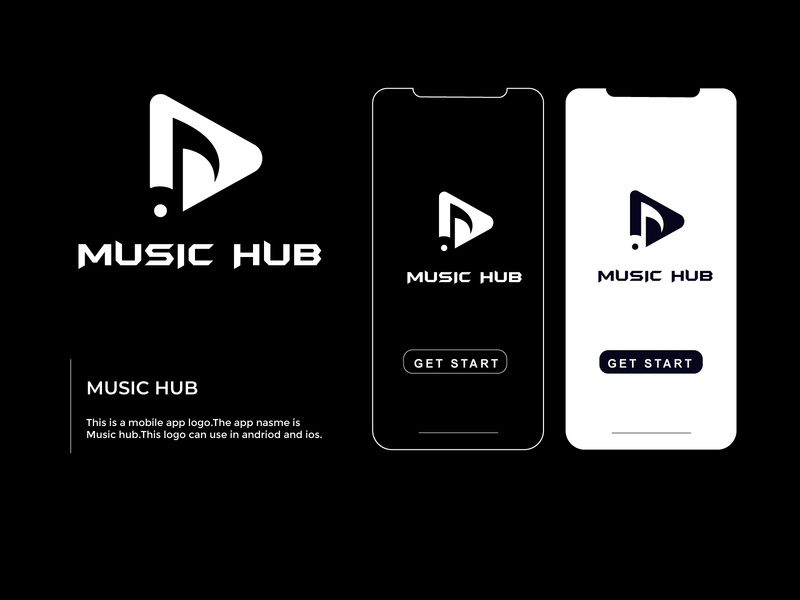 music hub logo for andriod or os company logo typography illustration branding minimalist business art logo graphic design flat