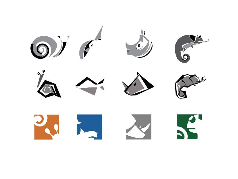 Animals stylization design icon logo illustration