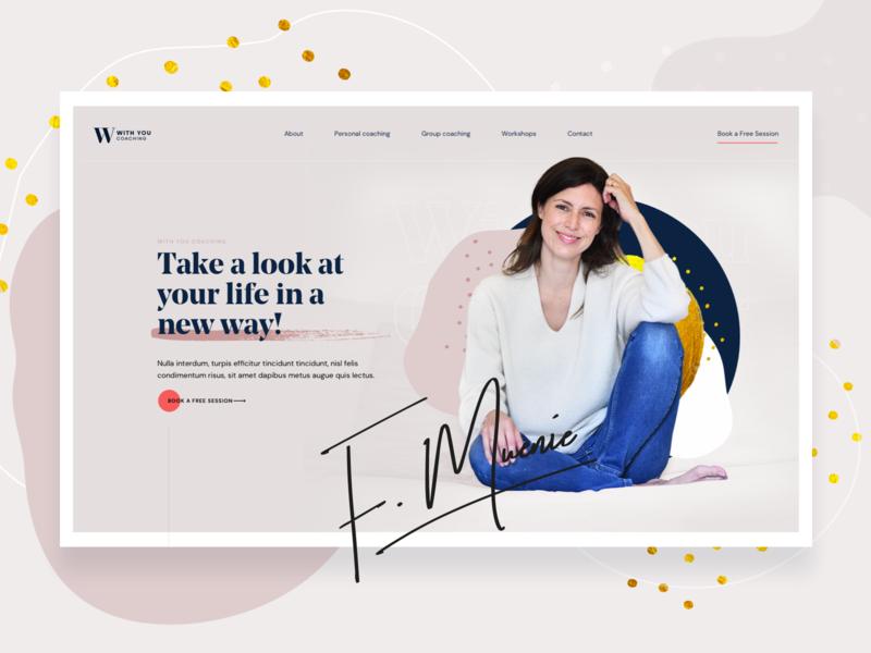 With You Coaching - Landing Page signature typogaphy feminine colorful blobby blobs website webdesign uidesign uiux