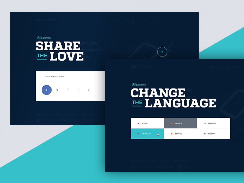 Social and Language Lightbox social lightbox subpage page minimalistic jakobsze typography ux website ui touchdesign